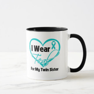 I Wear Teal Heart Ribbon For My Twin Sister Mug