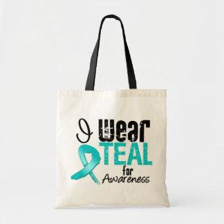 I Wear Teal Ribbon For Awareness Tote Bag