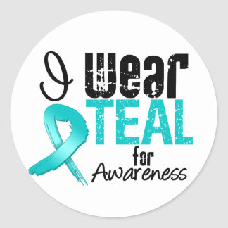 I Wear Teal Ribbon For Awareness Sticker