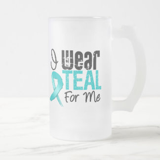 I Wear Teal Ribbon For Me Frosted Glass Beer Mug