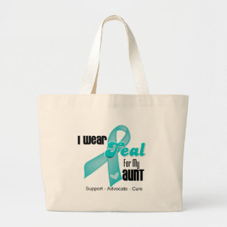 I Wear Teal Ribbon For My Aunt Tote Bags