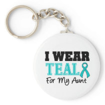I Wear Teal Ribbon For My Aunt Basic Round Button Keychain