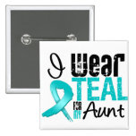 I Wear Teal Ribbon For My Aunt Pinback Button