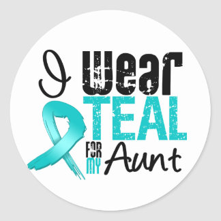 I Wear Teal Ribbon For My Aunt Round Sticker