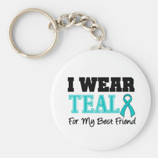 I Wear Teal Ribbon For My Best Friend Basic Round Button Keychain