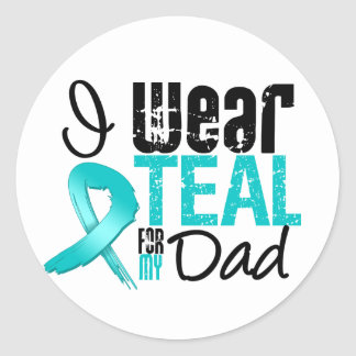 I Wear Teal Ribbon For My Dad Classic Round Sticker