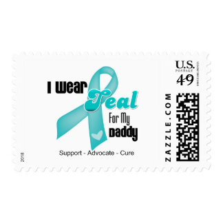 I Wear Teal Ribbon For My Daddy Postage Stamps