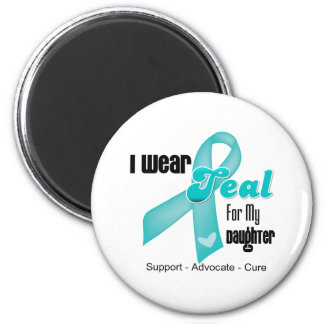 I Wear Teal Ribbon For My Daughter 2 Inch Round Magnet