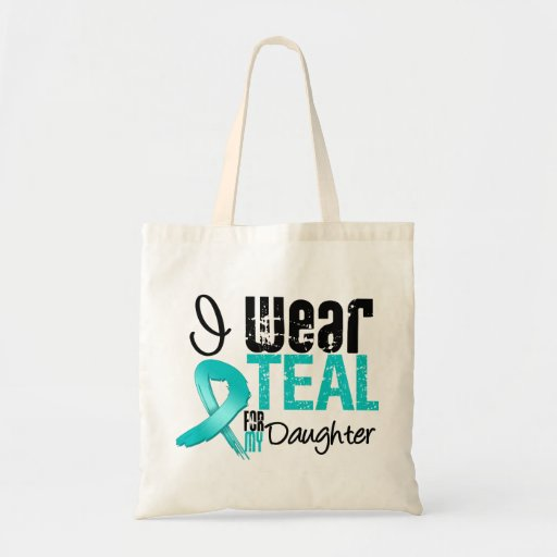 I Wear Teal Ribbon For My Daughter Budget Tote Bag