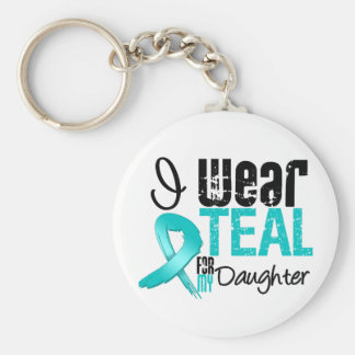 I Wear Teal Ribbon For My Daughter Keychains