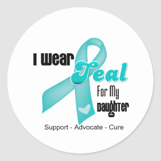 I Wear Teal Ribbon For My Daughter Classic Round Sticker