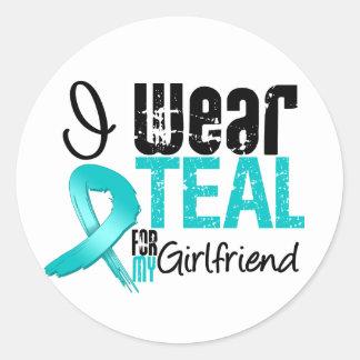 I Wear Teal Ribbon For My Girlfriend Sticker