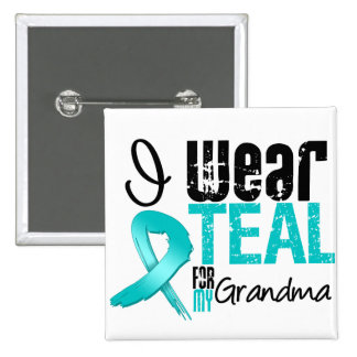 I Wear Teal Ribbon For My Grandma 2 Inch Square Button