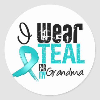 I Wear Teal Ribbon For My Grandma Round Stickers