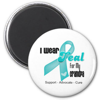I Wear Teal Ribbon For My Grandpa Refrigerator Magnets