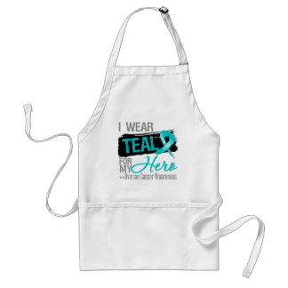 I Wear Teal Ribbon For My Hero Ovarian Cancer Adult Apron