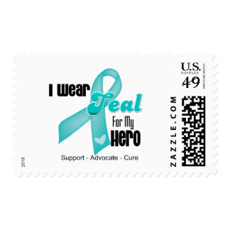 I Wear Teal Ribbon For My Hero Stamp