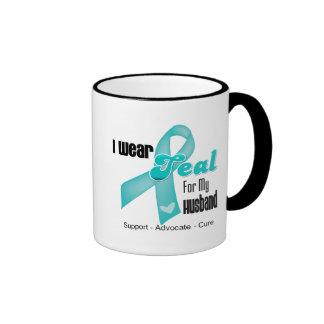 I Wear Teal Ribbon For My Husband Coffee Mugs