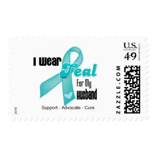 I Wear Teal Ribbon For My Husband Postage Stamp