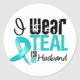 I Wear Teal Ribbon For My Husband Stickers