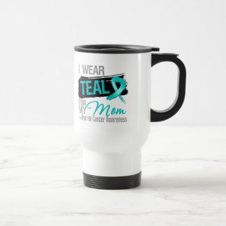 I Wear Teal Ribbon For My Mom Ovarian Cancer 15 Oz Stainless Steel Travel Mug