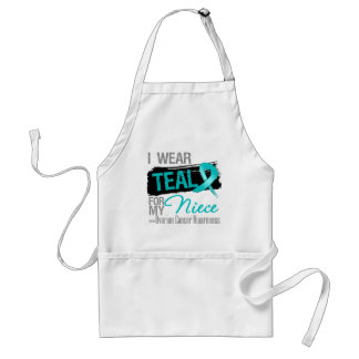 I Wear Teal Ribbon For My Niece Ovarian Cancer Adult Apron