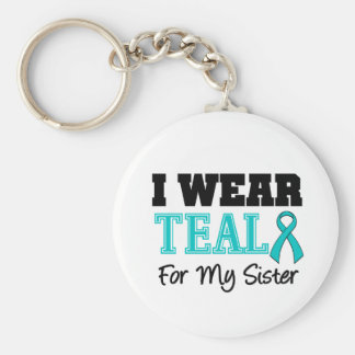 I Wear Teal Ribbon For My Sister Basic Round Button Keychain