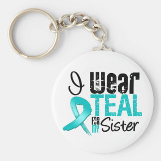 I Wear Teal Ribbon For My Sister Keychains