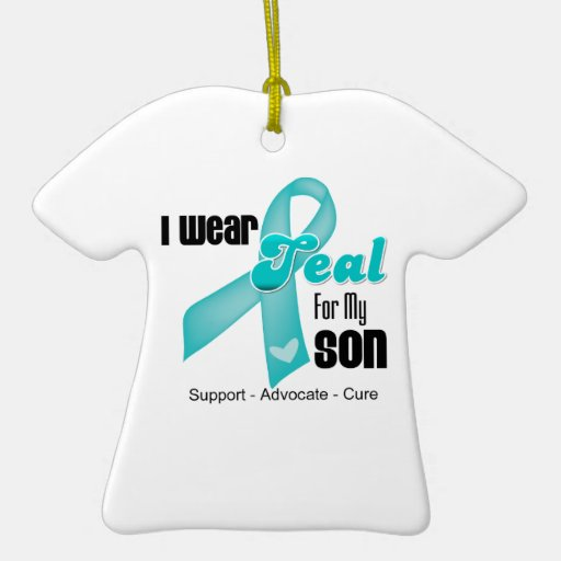 I Wear Teal Ribbon For My Son Double-Sided T-Shirt Ceramic Christmas Ornament