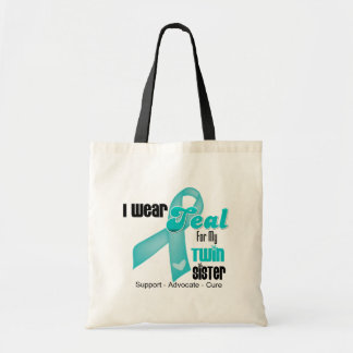 I Wear Teal Ribbon For My Twin Sister Tote Bags