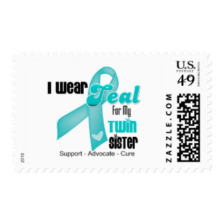 I Wear Teal Ribbon For My Twin Sister Stamps