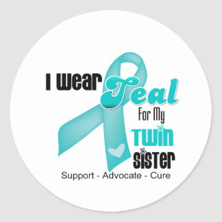 I Wear Teal Ribbon For My Twin Sister Sticker