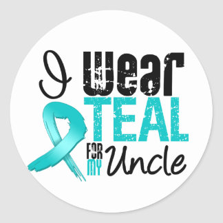 I Wear Teal Ribbon For My Uncle Round Stickers