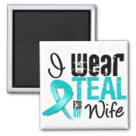 I Wear Teal Ribbon For My Wife 2 Inch Square Magnet