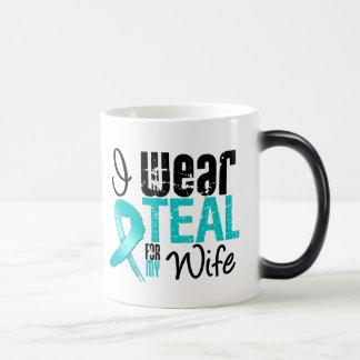 I Wear Teal Ribbon For My Wife Magic Mug