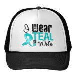 I Wear Teal Ribbon For My Wife Mesh Hats
