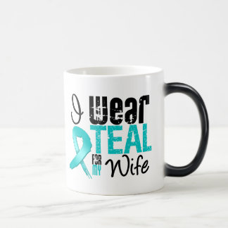 I Wear Teal Ribbon For My Wife 11 Oz Magic Heat Color-Changing Coffee Mug