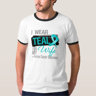 I Wear Teal Ribbon For My Wife Ovarian Cancer Shirt