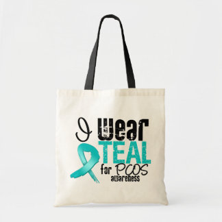 I Wear Teal Ribbon For PCOS Awareness Bags