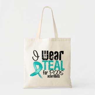 I Wear Teal Ribbon For PCOS Awareness Canvas Bags