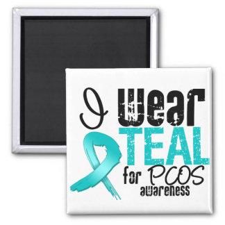 I Wear Teal Ribbon For PCOS Awareness Fridge Magnet