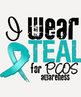 I Wear Teal Ribbon For PCOS Awareness T-Shirt