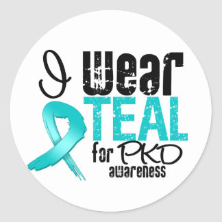 I Wear Teal Ribbon For PKD Awareness Classic Round Sticker