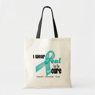 I Wear Teal Ribbon For The Cure Tote Bags