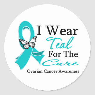 I Wear Teal Ribbon For The CURE Ovarian Cancer Stickers