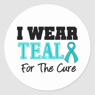 I Wear Teal Ribbon For The Cure Classic Round Sticker