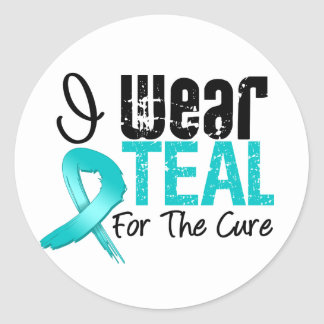 I Wear Teal Ribbon For The Cure Round Stickers