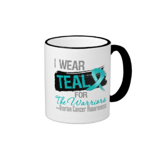I Wear Teal Ribbon For The Warriors Ovarian Cancer Ringer Coffee Mug