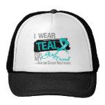 I Wear Teal Ribbon Girlfriend Ovarian Cancer Trucker Hats