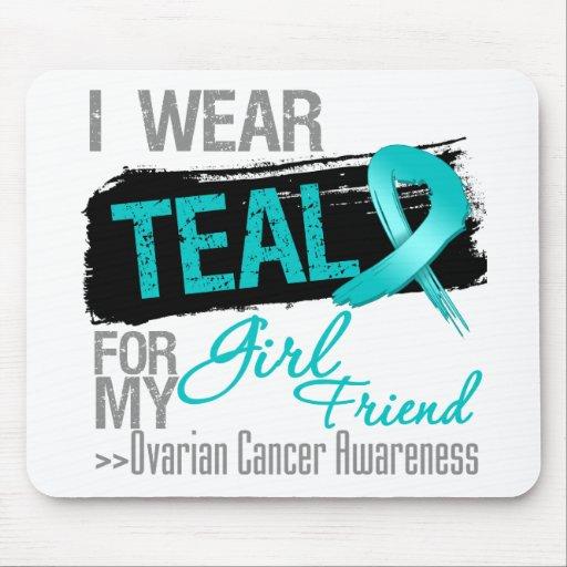 I Wear Teal Ribbon Girlfriend Ovarian Cancer Mousepads